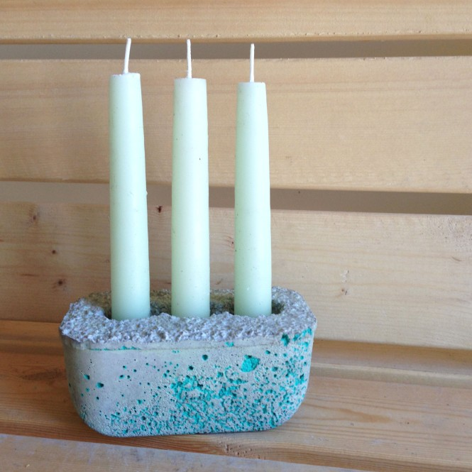 Concrete Candleholder from Butter Tub : LucidDesign