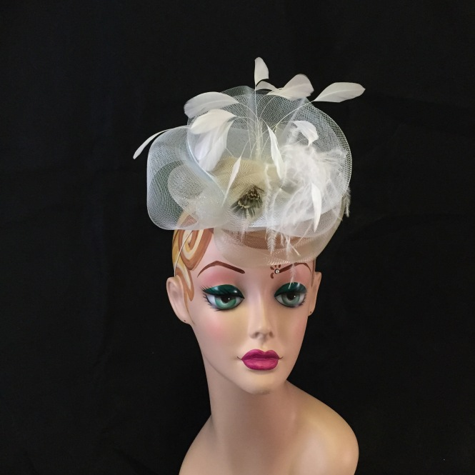 White & Ivory Fascinator - Wedding, Evening, Races, Special Occasion Headpiece