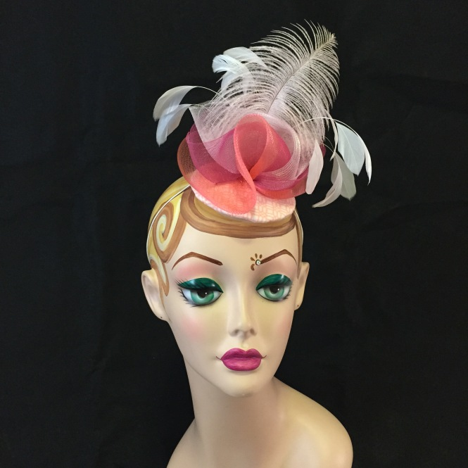 Pink & Coral Fascinator - Wedding, Evening, Races, Special Occasion Headpiece