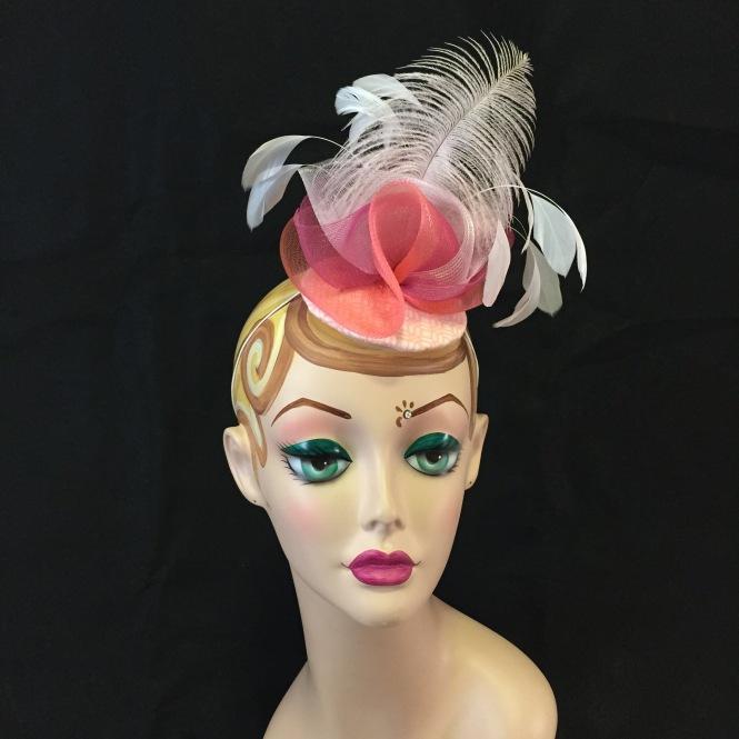 Pink & Coral Fascinator - Wedding, Evening, Races, Special Occasion Headpiece