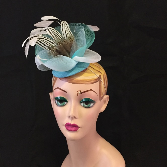 Teal & Turquoise Fascinator - Wedding, Evening, Races, Special Occasion Headpiece