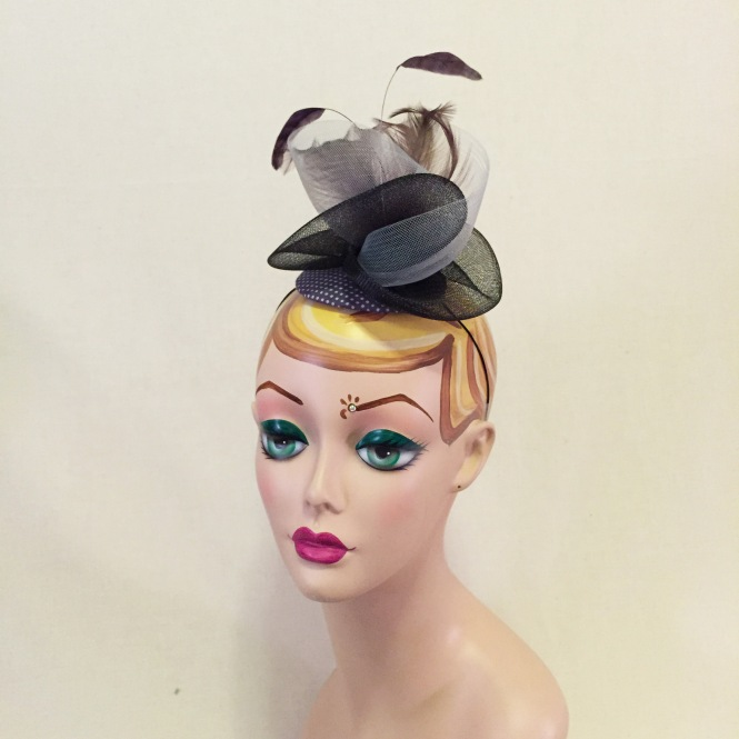Black & Purple Fascinator - Wedding, Evening, Races, Special Occasion Headpiece