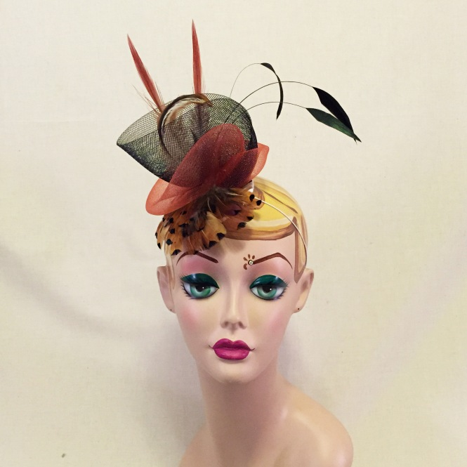 Rust Red, Orange & Black Fascinator - Wedding, Evening, Races, Special Occasion Headpiece