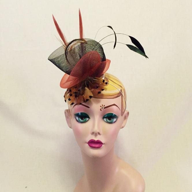 Rust Red, Orange & Black Fascinator - Wedding, Evening, Races, Special Occasion Headpiece