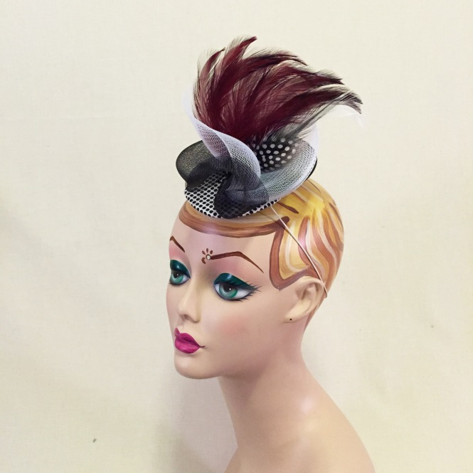 Burgundy, White, & Black Fascinator - Wedding, Evening, Races, Special Occasion Headpiece