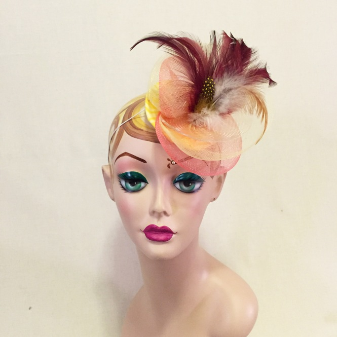 Yellow, Coral, & Burgundy Fascinator - Wedding, Evening, Races, Special Occasion Headpiece