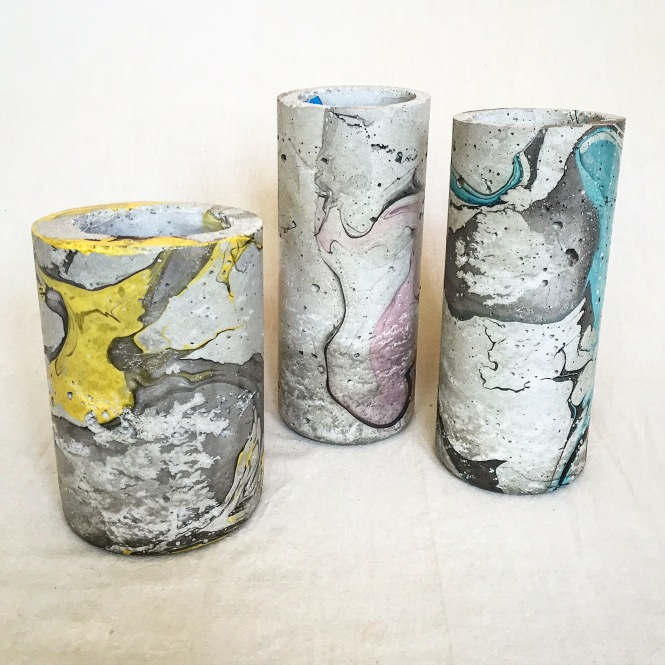 Marbled Vases. GoldPeak Iced Tea and smartwater. Inner smartwater mold left in place to hold water : LucidDesign